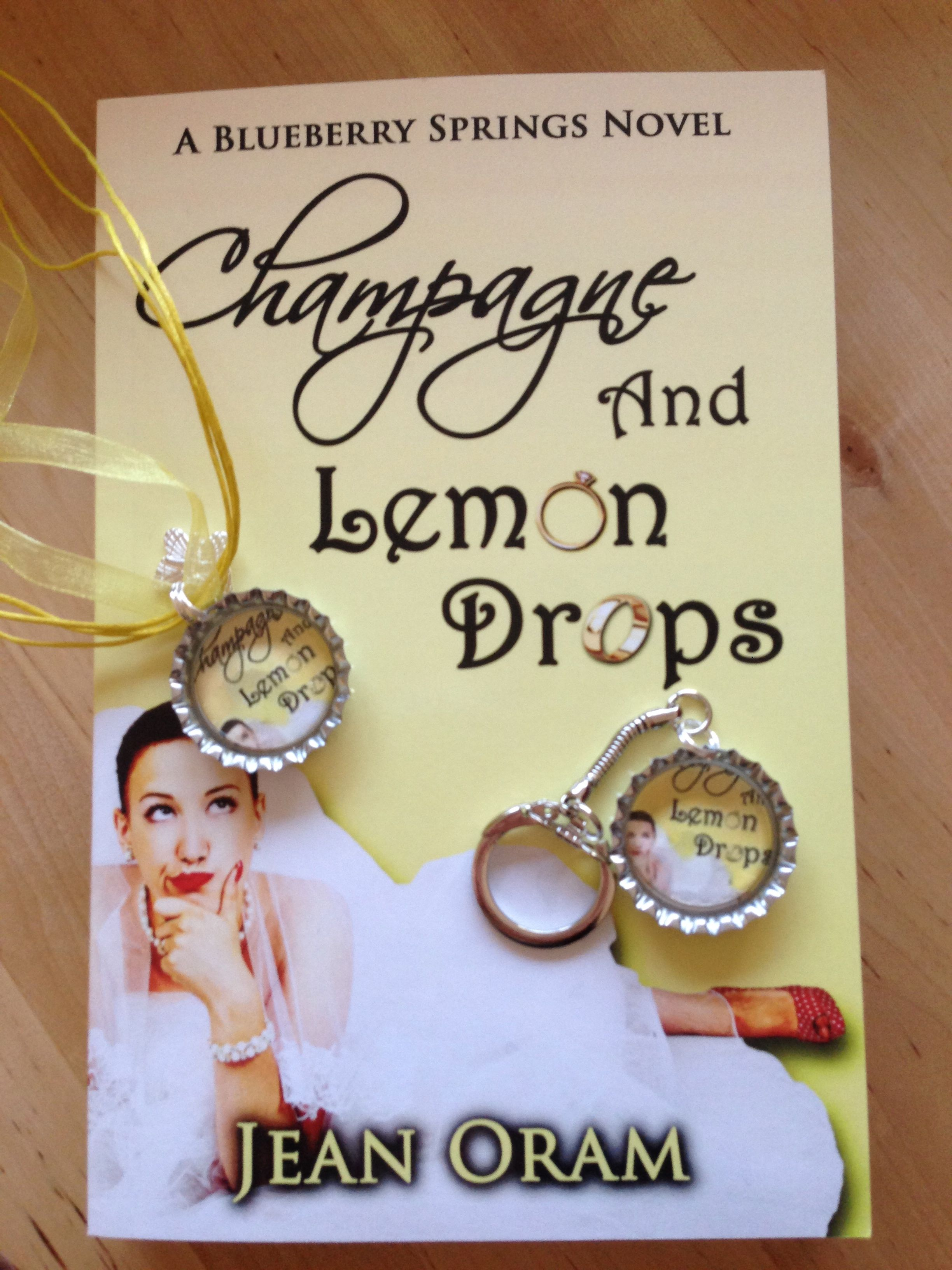 Champagne and Lemon Drops with one-of-a-kind swag (necklace and keychain) created by Denise Bush).
