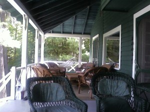 The veranda--and the wicker furniture that features in The Summer Sisters!