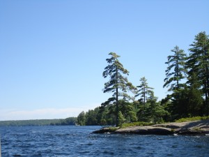 Muskoka scenery. Lake Rosseau--near Baby Horseshoe Island (fictional island owned by the Summers).