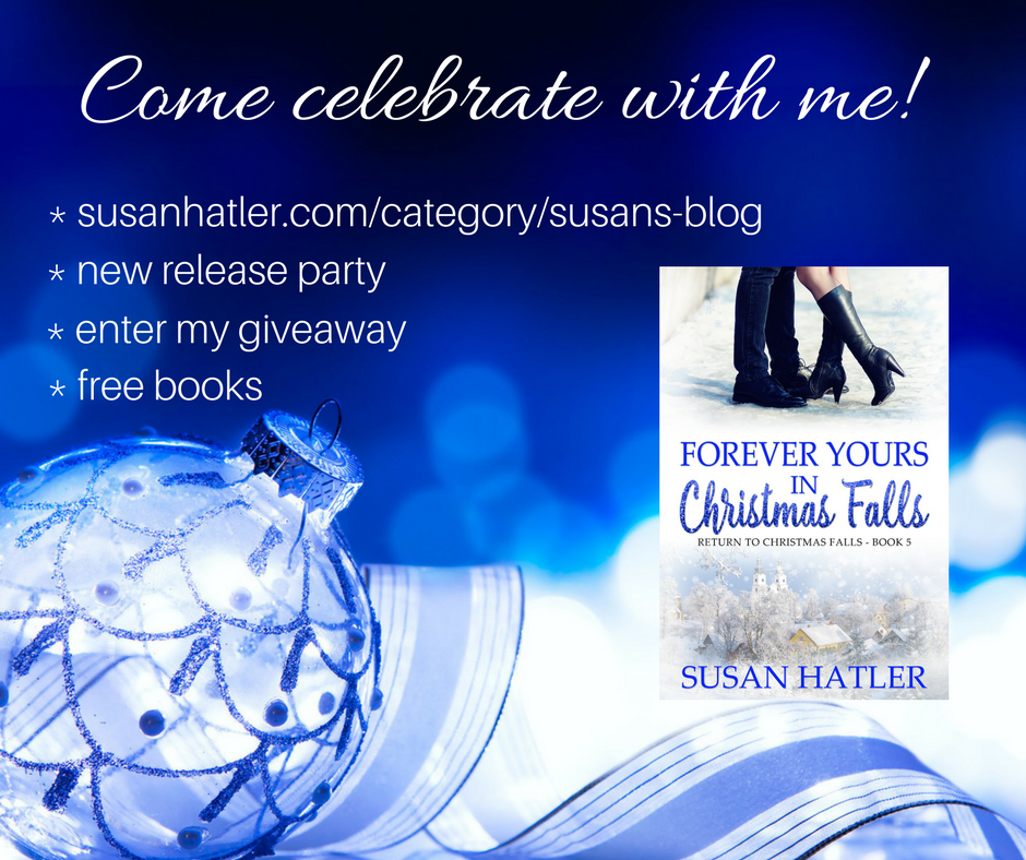Susan Hatler giveaway Forever Yours in Christmas Falls