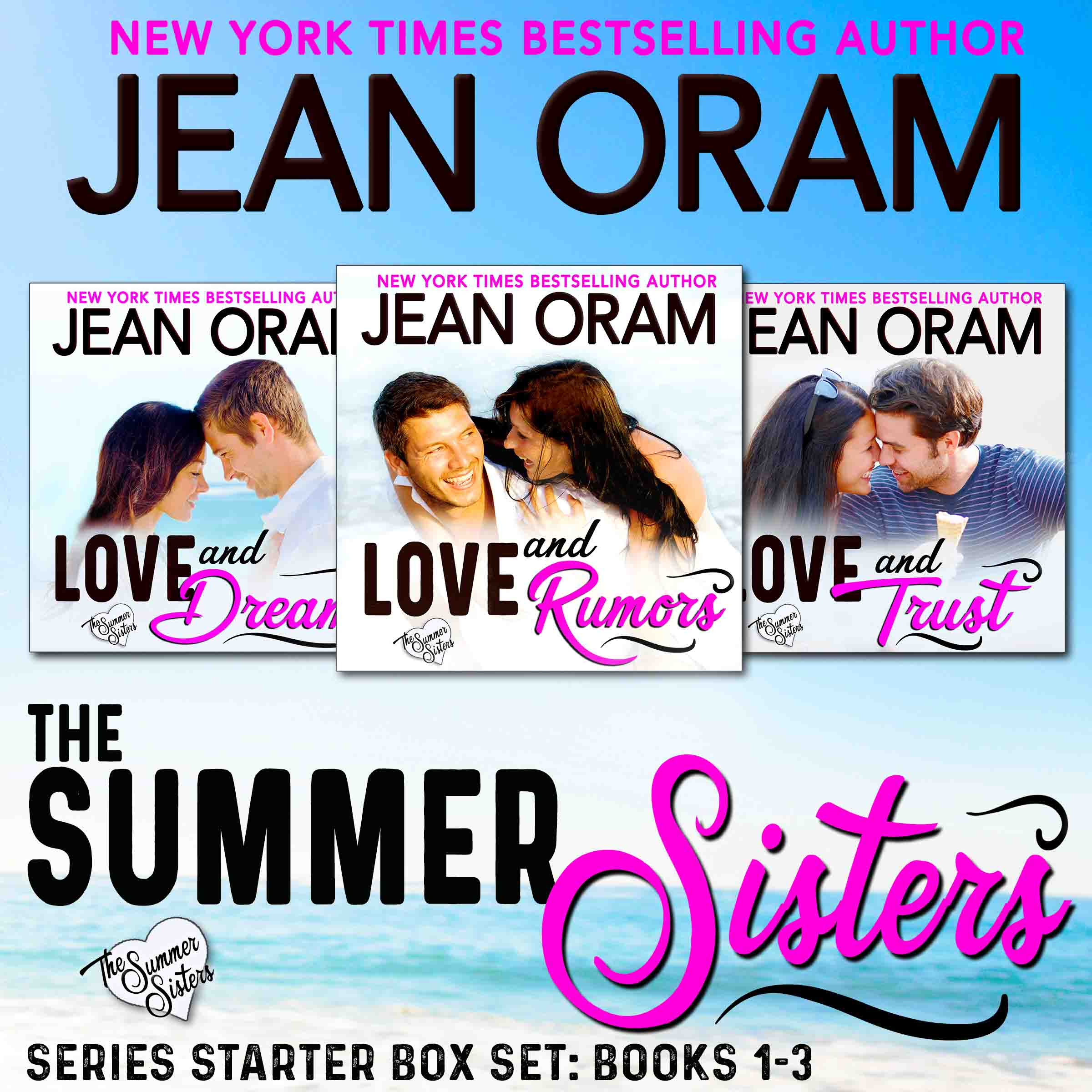 Love and Rumors, book 1 in the bestselling romance series, The Summer Sisters, set in Muskoka, Ontario and written by Jean Oram. Canadian cottage country romance. Love and Dreams, book 2. Love and Trust, book 3. Sweet small town romance.