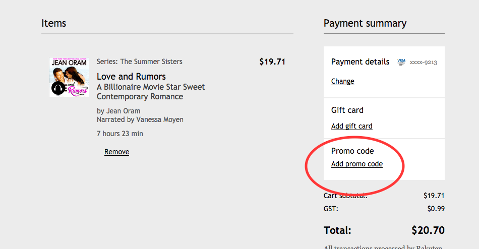 How to add a promo code on Kobo