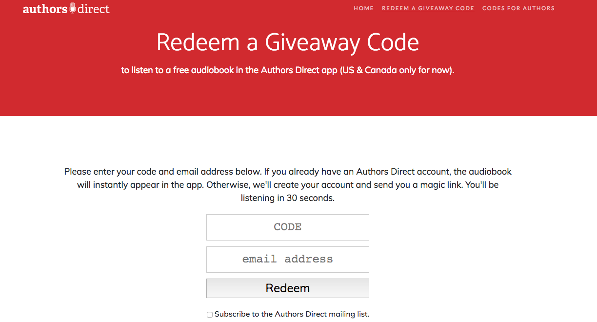 how to redeem your Authors direct free audiobook code for Jean Oram audiobooks