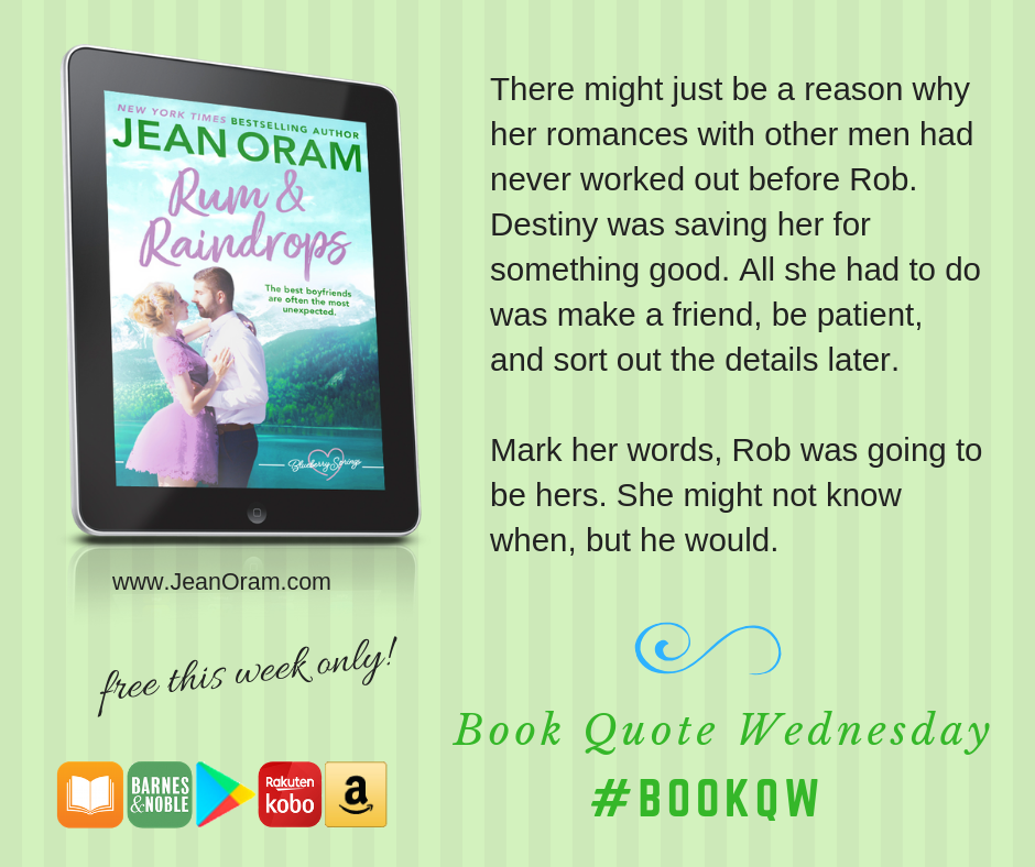 The reason Jen's romances don't work out is destiny--she was being saved for Rob. From Rum and Raindrops.