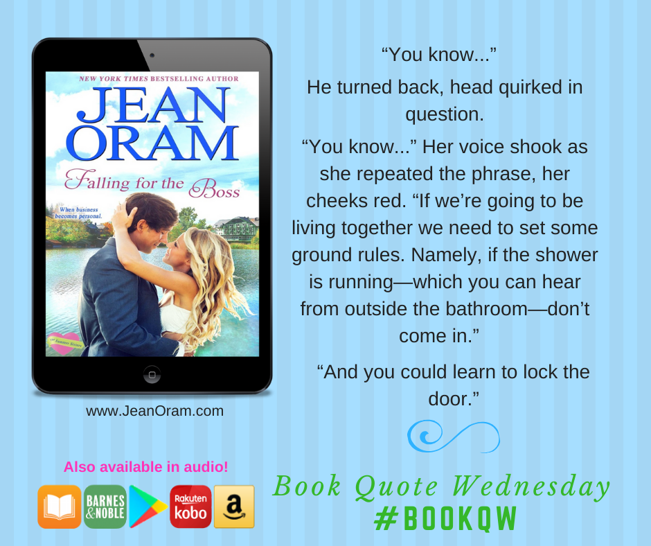 shower scene in falling for the boss as part of book quote wednesday. A sweet romance and humourous shower scene.
