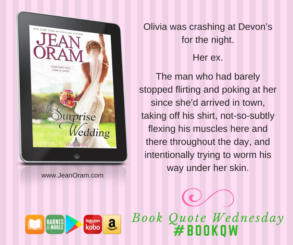 The Surprise Wedding by Jean Oram. A fake engagement romance. Sweet clean romance.