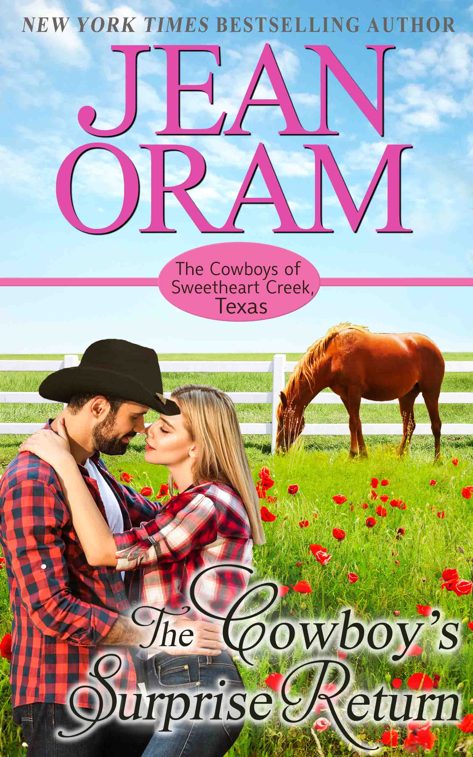 The Cowboy's Surprise Return, book 5, Jean Oram's The Cowboys of Sweetheart Creek, Texas series. Jackie Moorhouse and Cole Wylder find true love in this fake relationship cowboy romance.